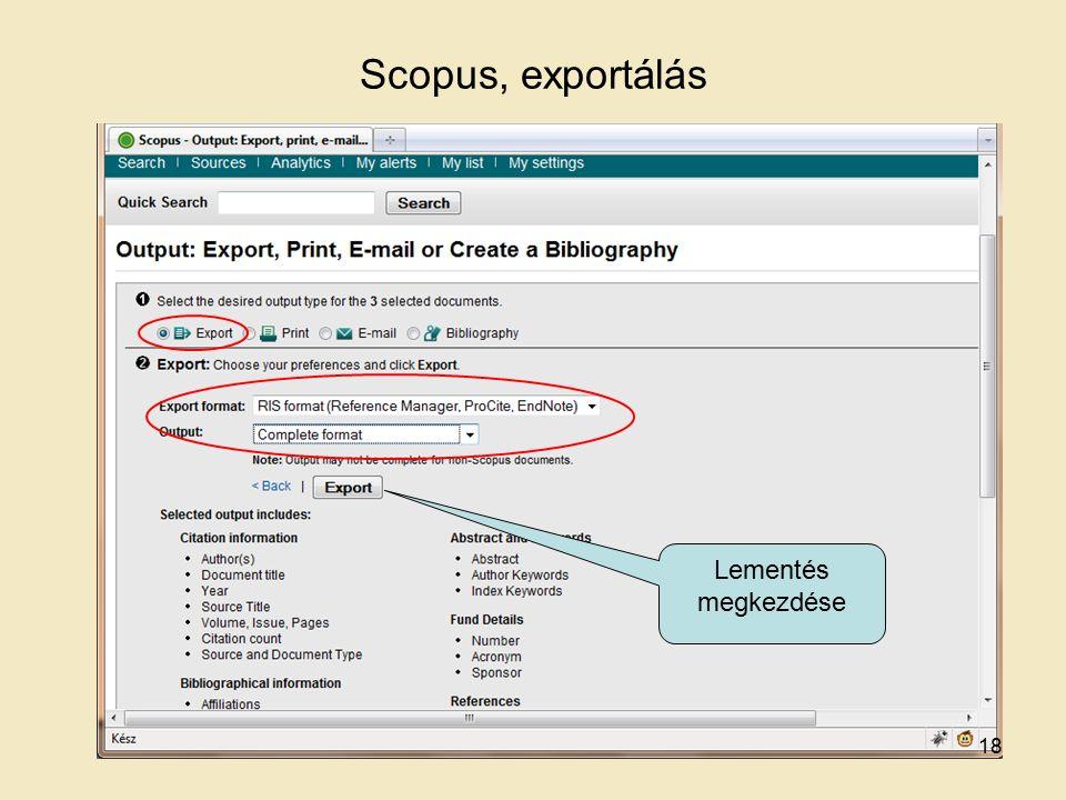Scopus, exportálás Lementés megkezdése 18