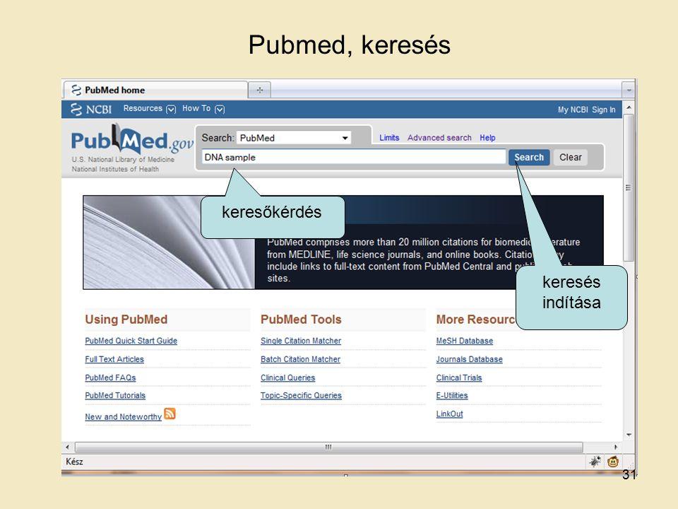Pubmed, keresés keresőkérdés keresés indítása 31