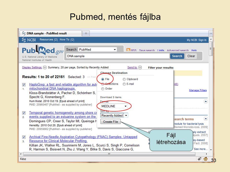 Pubmed, mentés fájlba Fájl létrehozása 33