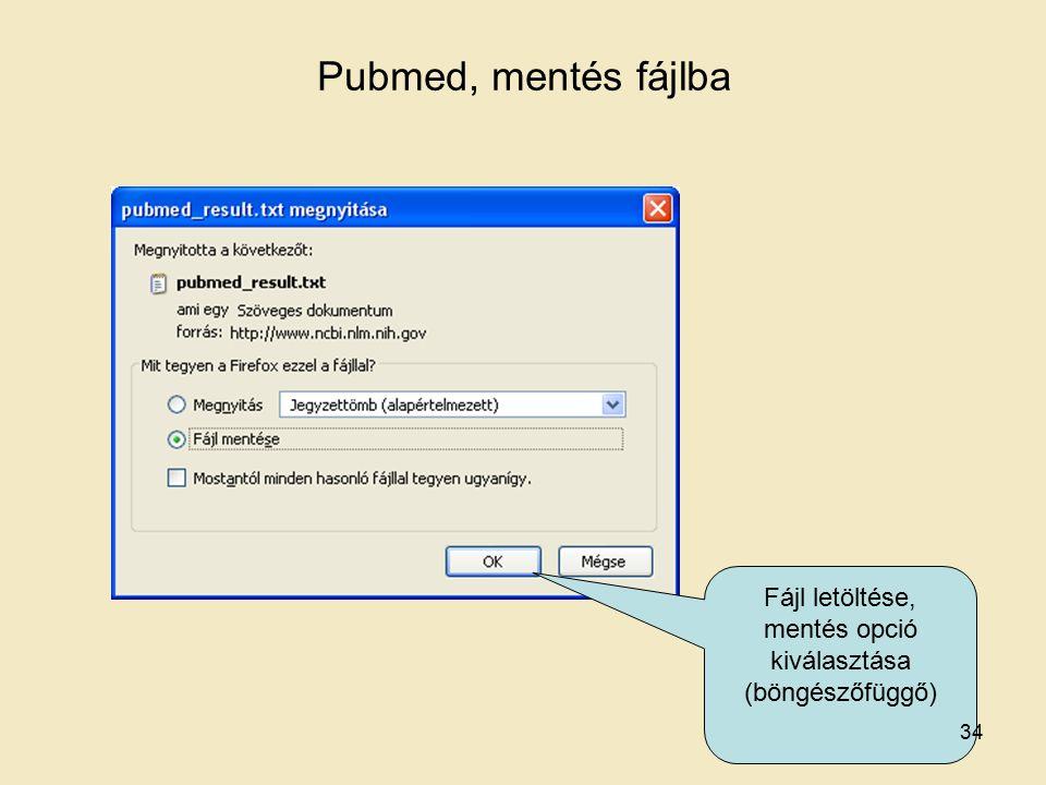 Fájl letöltése, mentés opció kiválasztása (böngészőfüggő) Pubmed, mentés fájlba 34