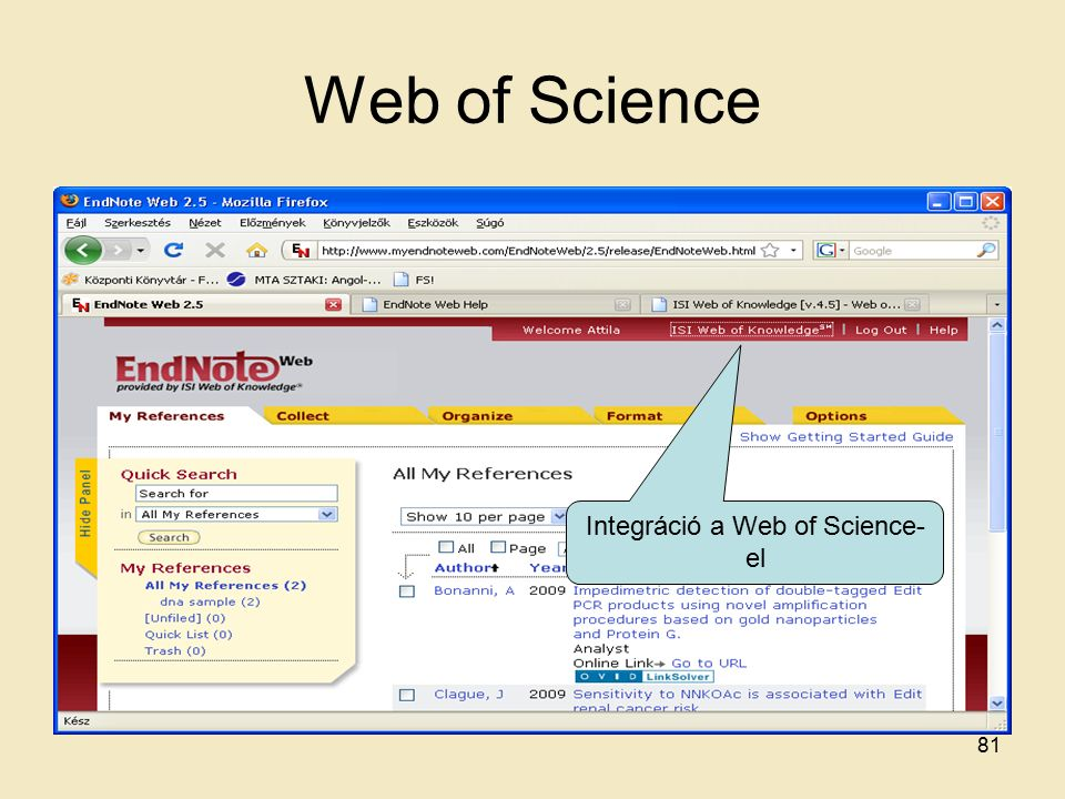 Web of Science Integráció a Web of Science- el 81