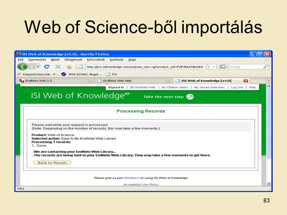 Web of Science-ből importálás 83