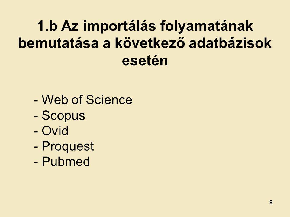 Ovid, adatbázis választás Adatbázis kiválasztása, pl. MEDLINE 20
