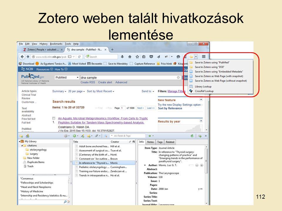 Zotero weben talált hivatkozások lementése 112