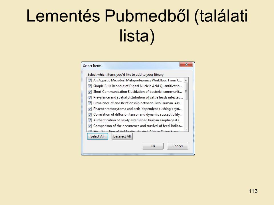 Lementés Pubmedből (találati lista) 113