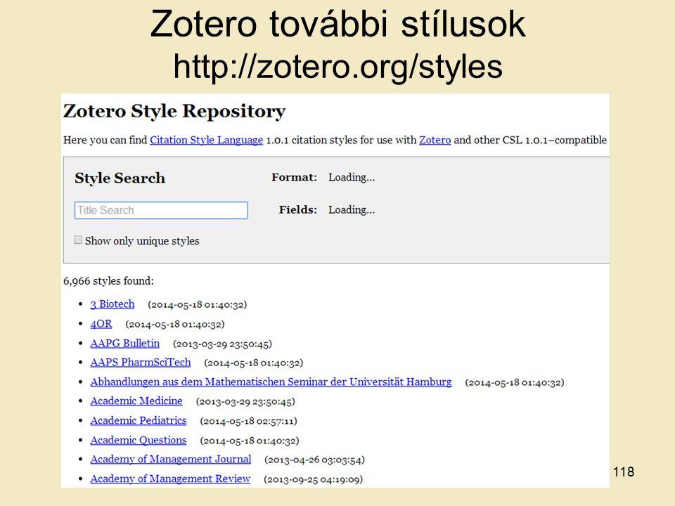 Zotero további stílusok http://zotero.org/styles 118