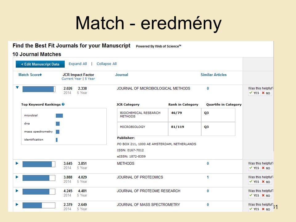 Match - eredmény 31