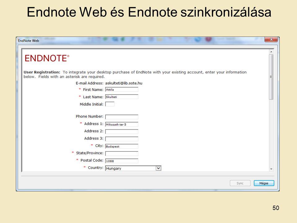 Endnote Web és Endnote szinkronizálása 50