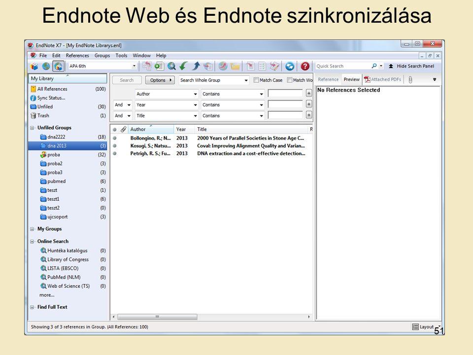 Endnote Web és Endnote szinkronizálása 51