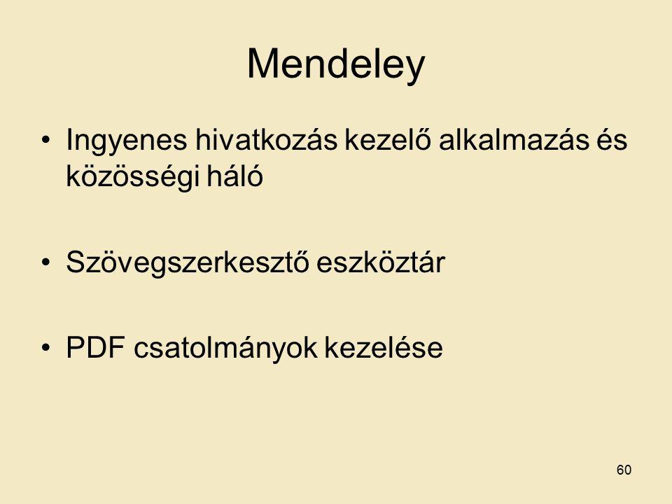 Mendeley Ingyenes hivatkozás kezelő alkalmazás és közösségi háló Szövegszerkesztő eszköztár PDF csatolmányok kezelése 60
