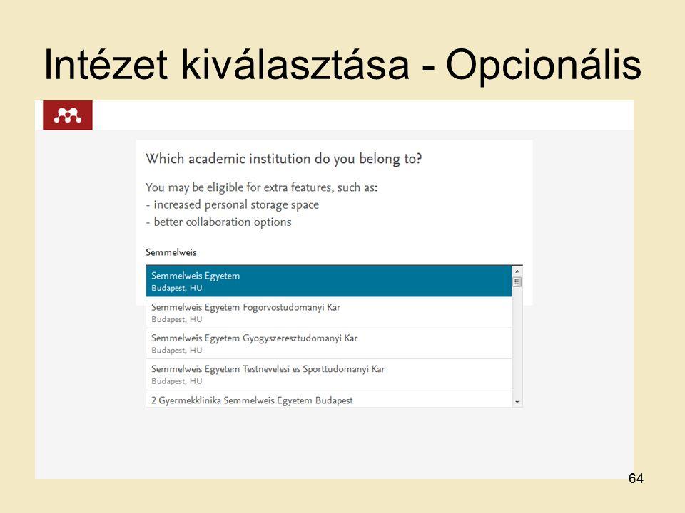 Intézet kiválasztása - Opcionális 64