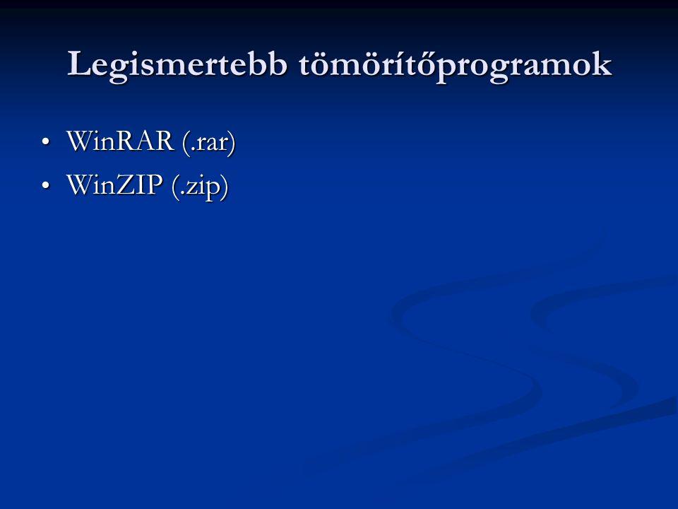 Legismertebb tömörítőprogramok WinRAR (.rar) WinRAR (.rar) WinZIP (.zip) WinZIP (.zip)