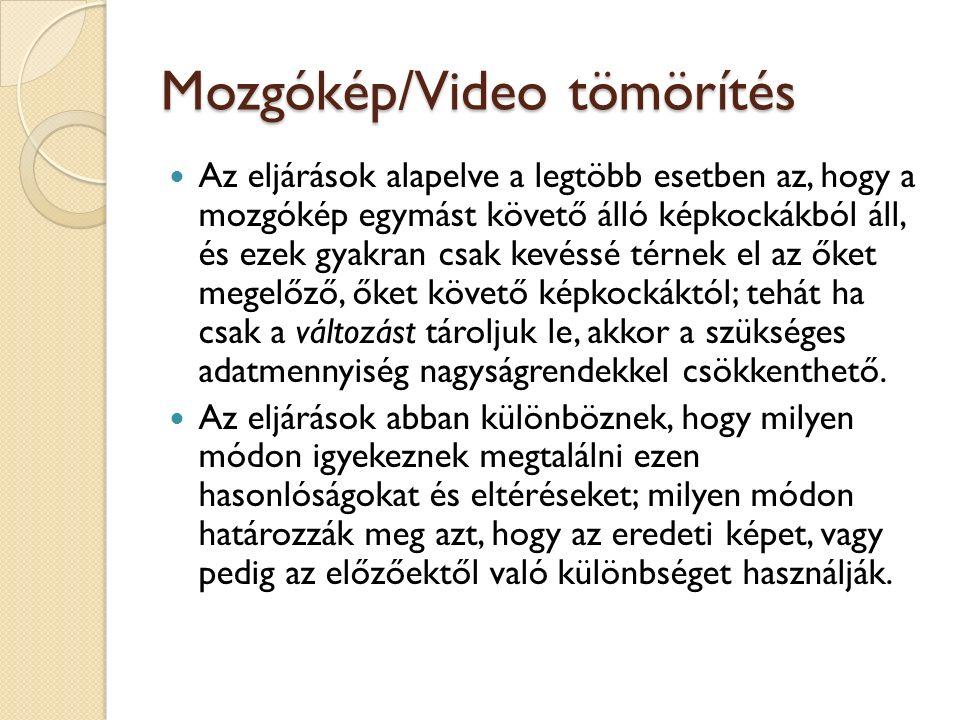 Mozgókép/Video tömörítés Az eljárások alapelve a legtöbb esetben az, hogy a mozgókép egymást követő álló képkockákból áll, és ezek gyakran csak kevéss