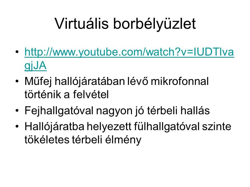 Virtuális borbélyüzlet http://www.youtube.com/watch?v=IUDTlva gjJAhttp://www.youtube.com/watch?v=IUDTlva gjJA Műfej hallójáratában lévő mikrofonnal tö