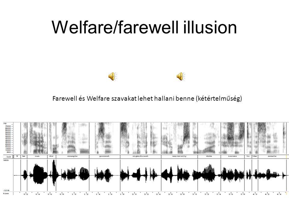 Welfare/farewell illusion Farewell és Welfare szavakat lehet hallani benne (kétértelműség)