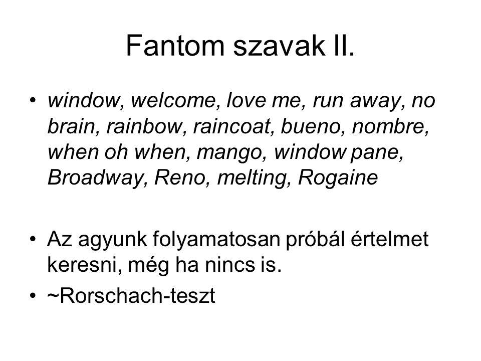 Fantom szavak II. window, welcome, love me, run away, no brain, rainbow, raincoat, bueno, nombre, when oh when, mango, window pane, Broadway, Reno, me