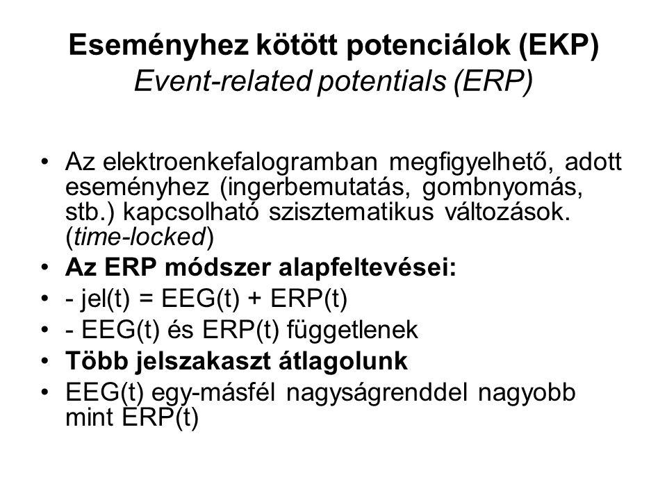 Eseményhez kötött potenciálok (EKP) Event-related potentials (ERP) Az elektroenkefalogramban megfigyelhető, adott eseményhez (ingerbemutatás, gombnyomás, stb.) kapcsolható szisztematikus változások.