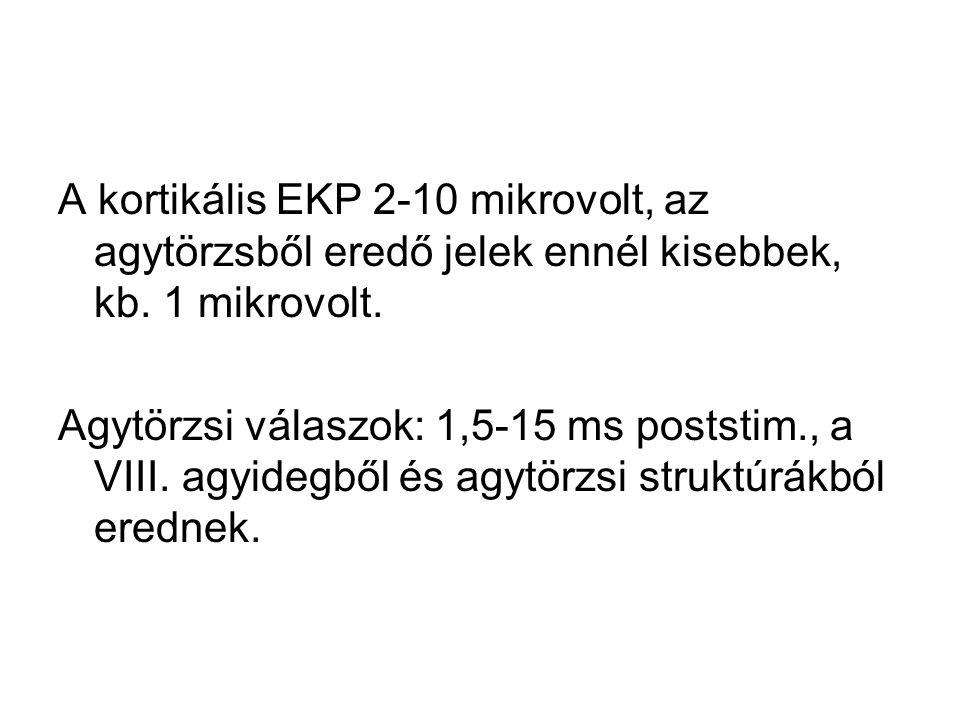 A kortikális EKP 2-10 mikrovolt, az agytörzsből eredő jelek ennél kisebbek, kb. 1 mikrovolt. Agytörzsi válaszok: 1,5-15 ms poststim., a VIII. agyidegb