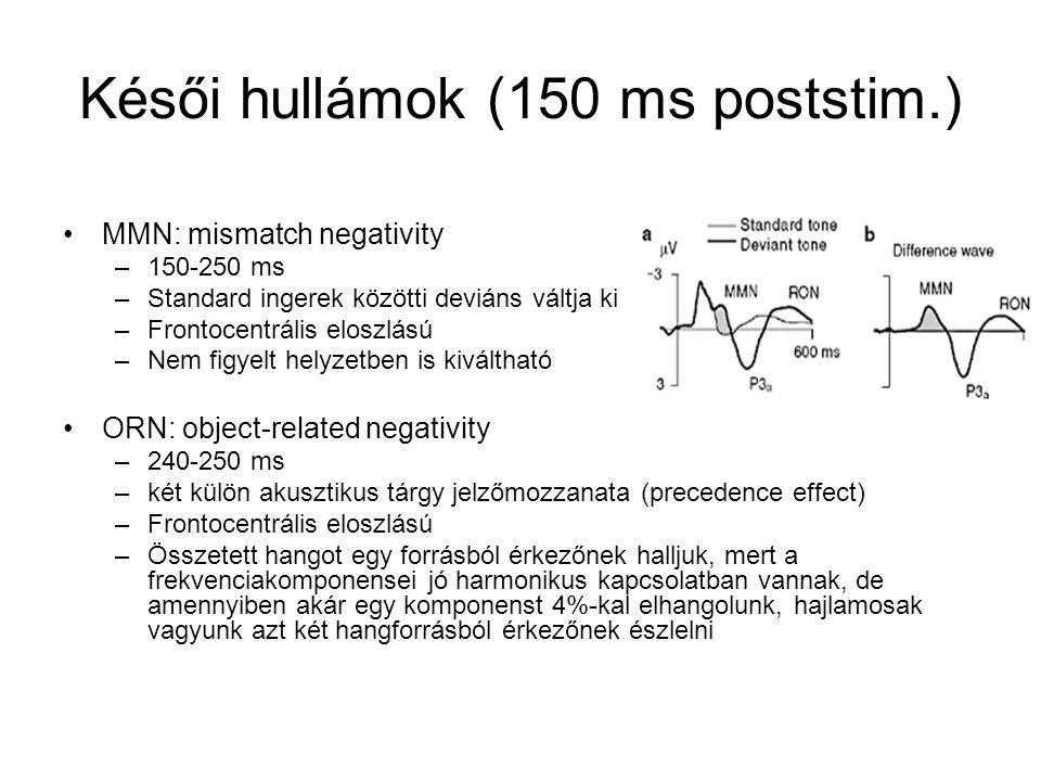Késői hullámok (150 ms poststim.) MMN: mismatch negativity –150-250 ms –Standard ingerek közötti deviáns váltja ki –Frontocentrális eloszlású –Nem figyelt helyzetben is kiváltható ORN: object-related negativity –240-250 ms –két külön akusztikus tárgy jelzőmozzanata (precedence effect) –Frontocentrális eloszlású –Összetett hangot egy forrásból érkezőnek halljuk, mert a frekvenciakomponensei jó harmonikus kapcsolatban vannak, de amennyiben akár egy komponenst 4%-kal elhangolunk, hajlamosak vagyunk azt két hangforrásból érkezőnek észlelni