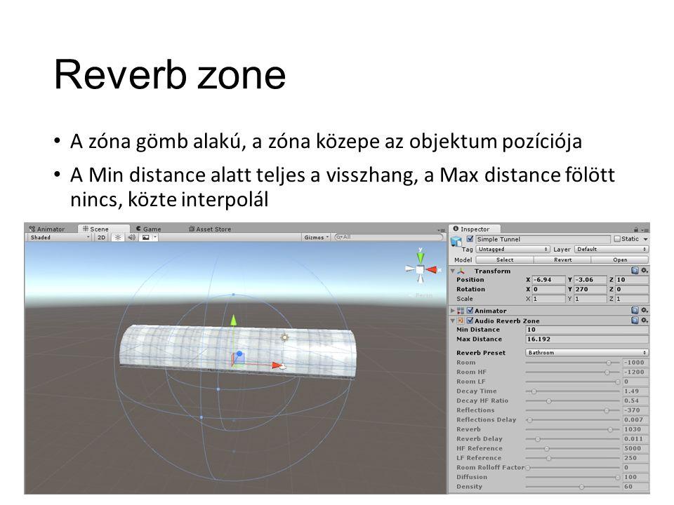Reverb zone A zóna gömb alakú, a zóna közepe az objektum pozíciója A Min distance alatt teljes a visszhang, a Max distance fölött nincs, közte interpolál