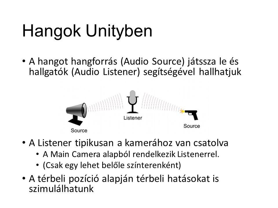 Hangok Unityben A hangot hangforrás (Audio Source) játssza le és hallgatók (Audio Listener) segítségével hallhatjuk A Listener tipikusan a kamerához van csatolva A Main Camera alapból rendelkezik Listenerrel.