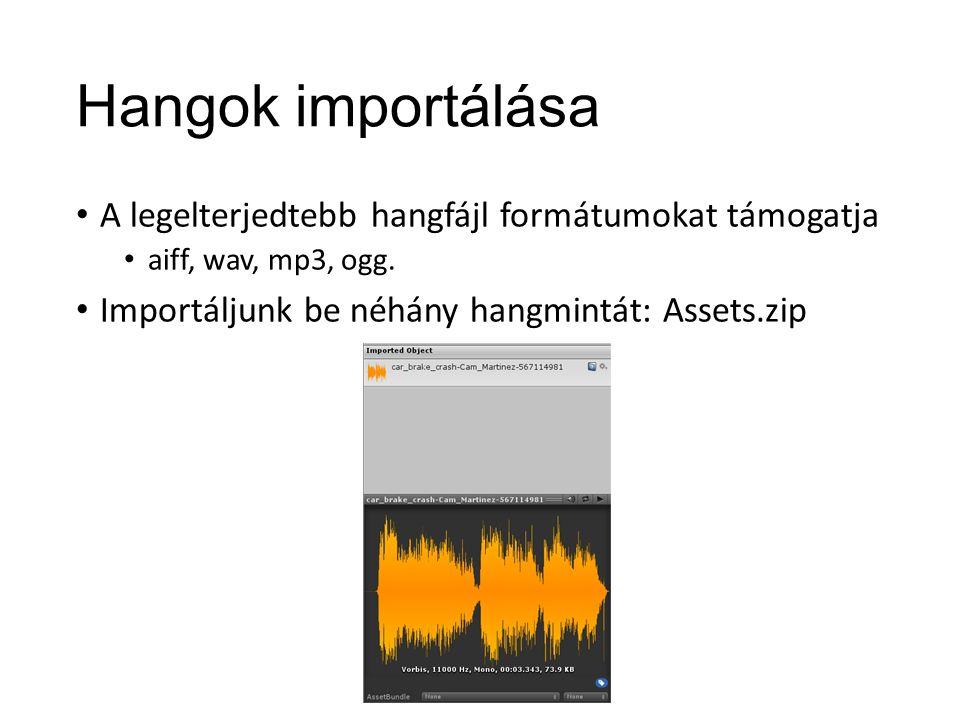 Hangok importálása A legelterjedtebb hangfájl formátumokat támogatja aiff, wav, mp3, ogg.