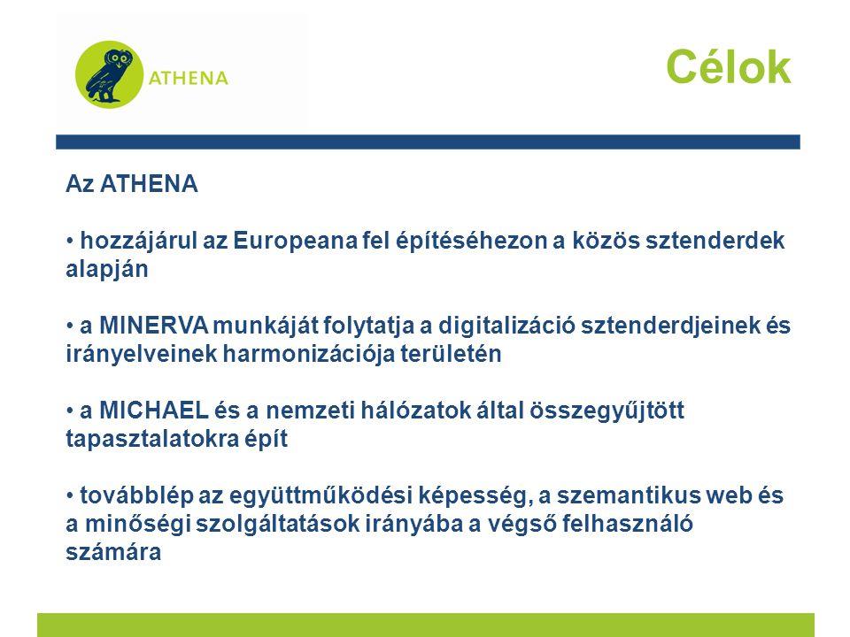 Célok Az ATHENA hozzájárul az Europeana fel építéséhezon a közös sztenderdek alapján a MINERVA munkáját folytatja a digitalizáció sztenderdjeinek és irányelveinek harmonizációja területén a MICHAEL és a nemzeti hálózatok által összegyűjtött tapasztalatokra épít továbblép az együttműködési képesség, a szemantikus web és a minőségi szolgáltatások irányába a végső felhasználó számára