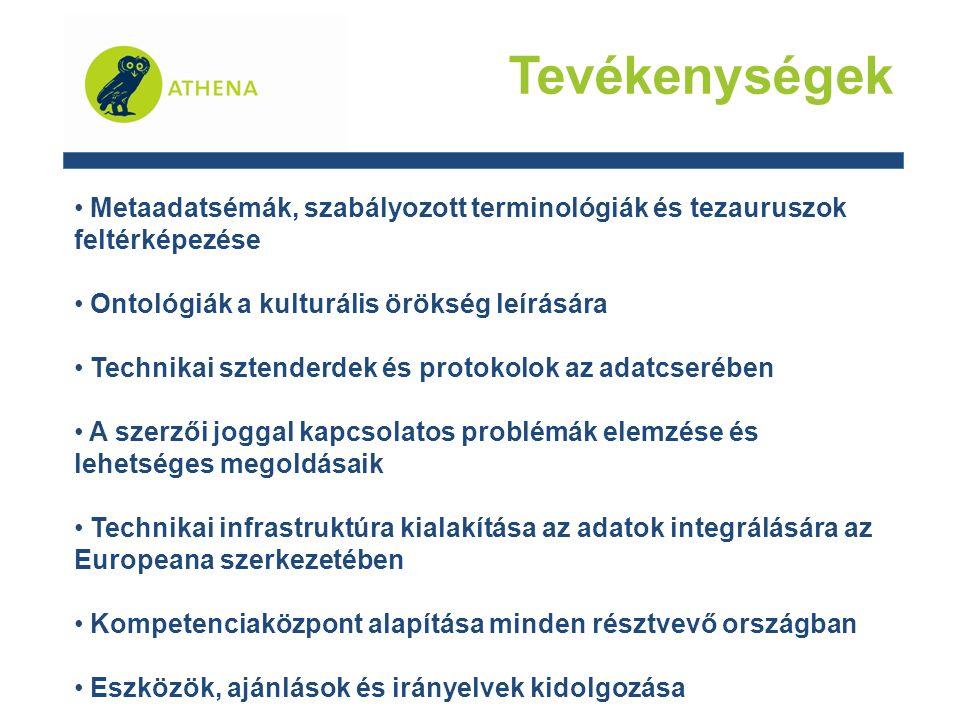 Tevékenységek Metaadatsémák, szabályozott terminológiák és tezauruszok feltérképezése Ontológiák a kulturális örökség leírására Technikai sztenderdek és protokolok az adatcserében A szerzői joggal kapcsolatos problémák elemzése és lehetséges megoldásaik Technikai infrastruktúra kialakítása az adatok integrálására az Europeana szerkezetében Kompetenciaközpont alapítása minden résztvevő országban Eszközök, ajánlások és irányelvek kidolgozása