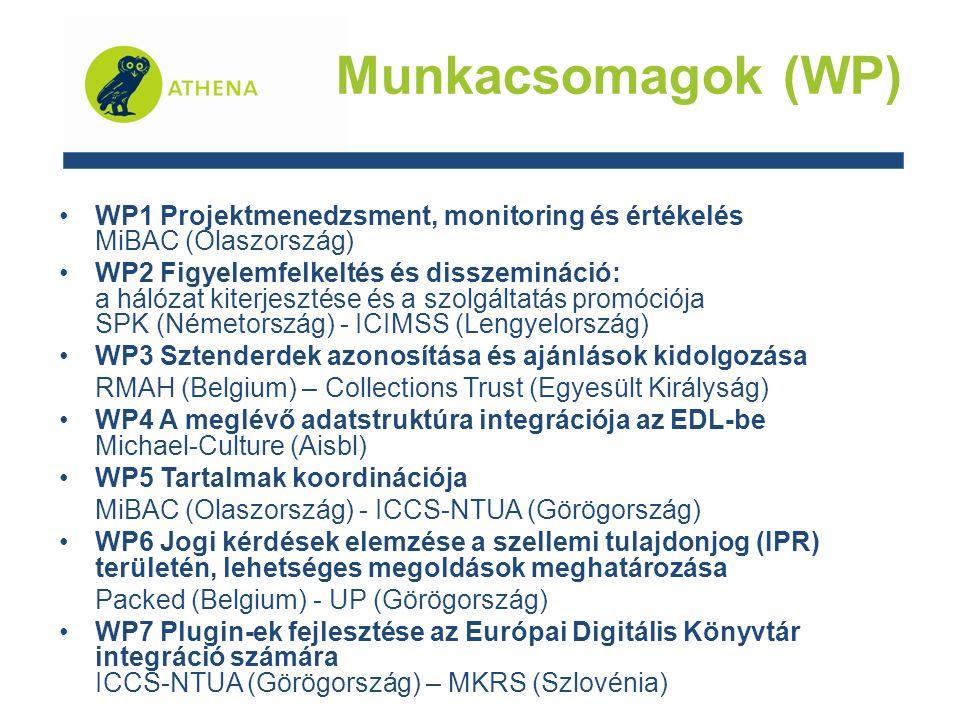 WP1 Projektmenedzsment, monitoring és értékelés MiBAC (Olaszország) WP2 Figyelemfelkeltés és disszemináció: a hálózat kiterjesztése és a szolgáltatás promóciója SPK (Németország) - ICIMSS (Lengyelország) WP3 Sztenderdek azonosítása és ajánlások kidolgozása RMAH (Belgium) – Collections Trust (Egyesült Királyság) WP4 A meglévő adatstruktúra integrációja az EDL-be Michael-Culture (Aisbl) WP5 Tartalmak koordinációja MiBAC (Olaszország) - ICCS-NTUA (Görögország) WP6 Jogi kérdések elemzése a szellemi tulajdonjog (IPR) területén, lehetséges megoldások meghatározása Packed (Belgium) - UP (Görögország) WP7 Plugin-ek fejlesztése az Európai Digitális Könyvtár integráció számára ICCS-NTUA (Görögország) – MKRS (Szlovénia) Munkacsomagok (WP)