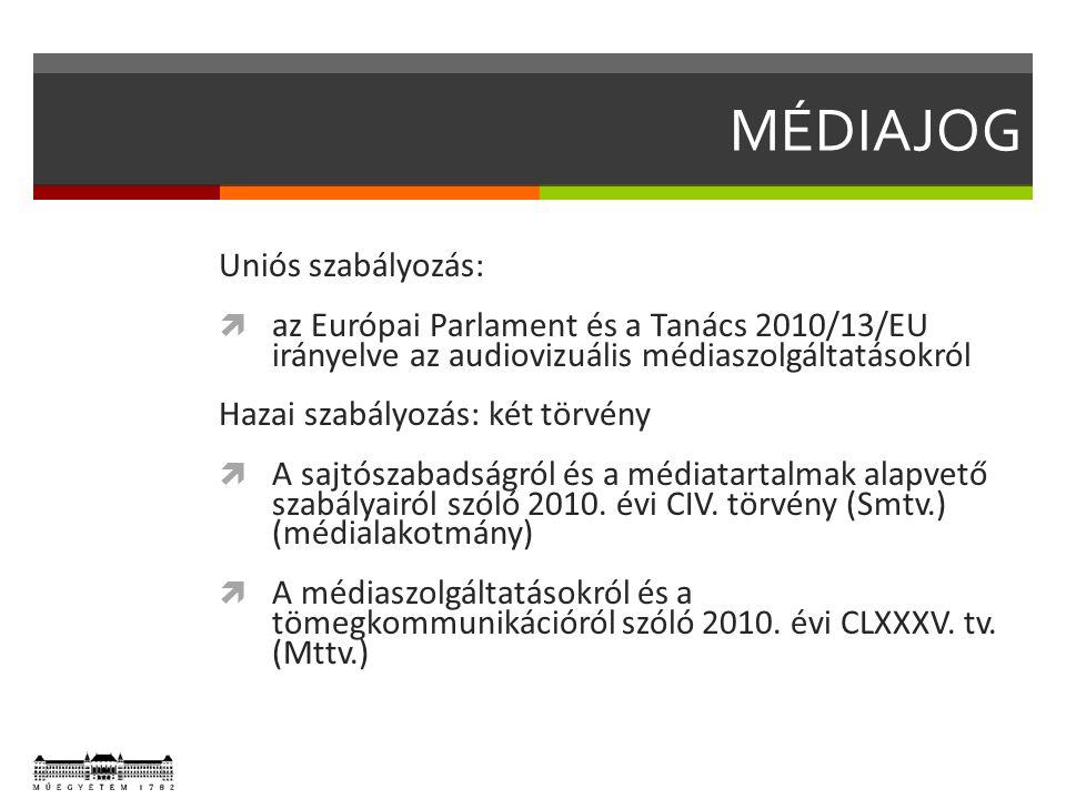 MÉDIAJOG Uniós szabályozás:  az Európai Parlament és a Tanács 2010/13/EU irányelve az audiovizuális médiaszolgáltatásokról Hazai szabályozás: két törvény  A sajtószabadságról és a médiatartalmak alapvető szabályairól szóló 2010.