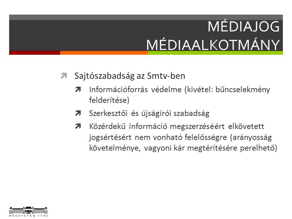 MÉDIAJOG MÉDIAALKOTMÁNY  Sajtószabadság az Smtv-ben  Információforrás védelme (kivétel: bűncselekmény felderítése)  Szerkesztői és újságírói szabadság  Közérdekű információ megszerzéséért elkövetett jogsértésért nem vonható felelősségre (arányosság követelménye, vagyoni kár megtérítésére perelhető)