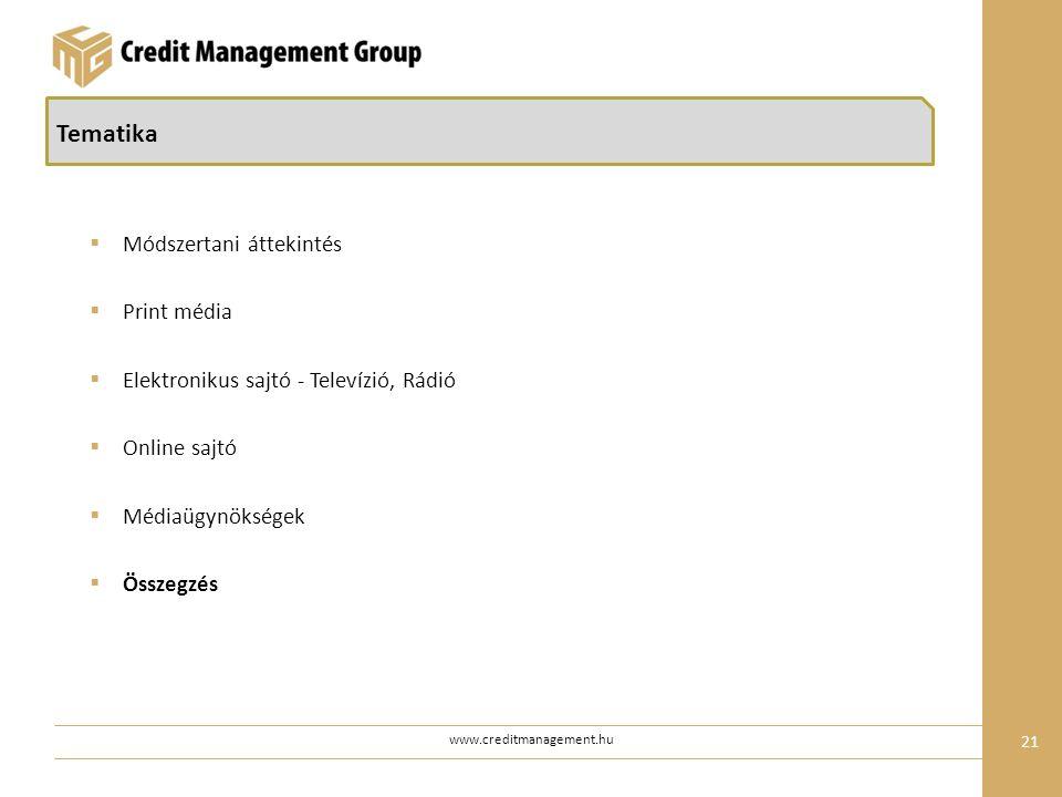 21 www.creditmanagement.hu Tematika  Módszertani áttekintés  Print média  Elektronikus sajtó - Televízió, Rádió  Online sajtó  Médiaügynökségek  Összegzés