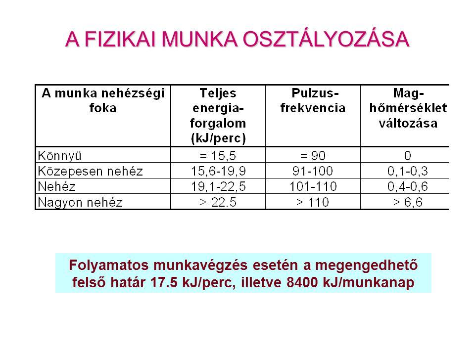 A FIZIKAI MUNKA OSZTÁLYOZÁSA Folyamatos munkavégzés esetén a megengedhető felső határ 17.5 kJ/perc, illetve 8400 kJ/munkanap