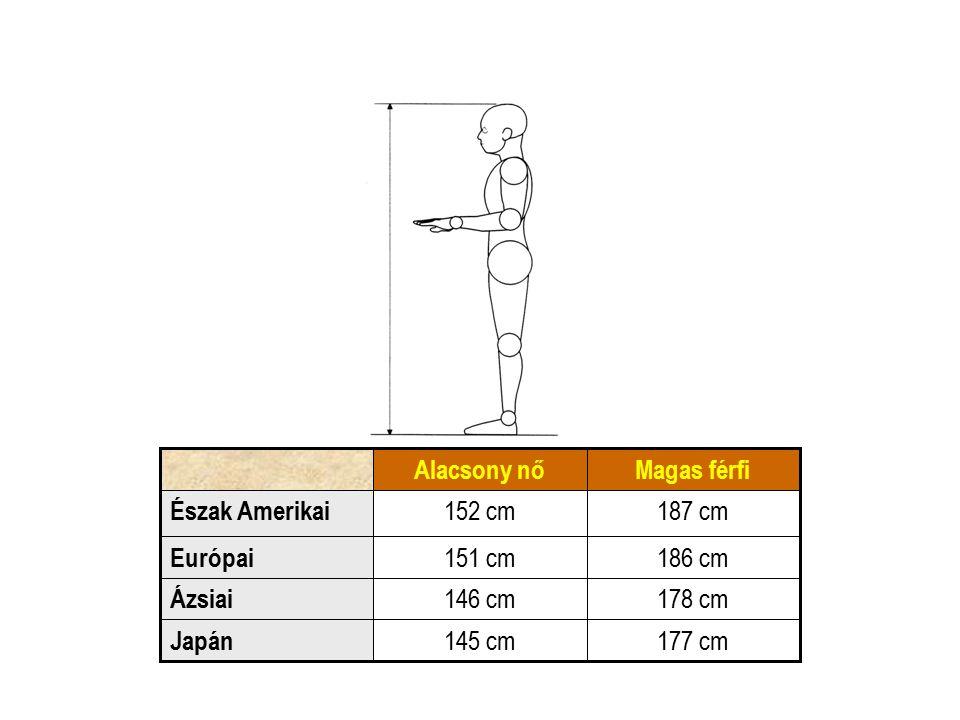 177 cm145 cm Japán 178 cm146 cm Ázsiai 186 cm151 cm Európai 187 cm152 cm Észak Amerikai Magas férfiAlacsony nő
