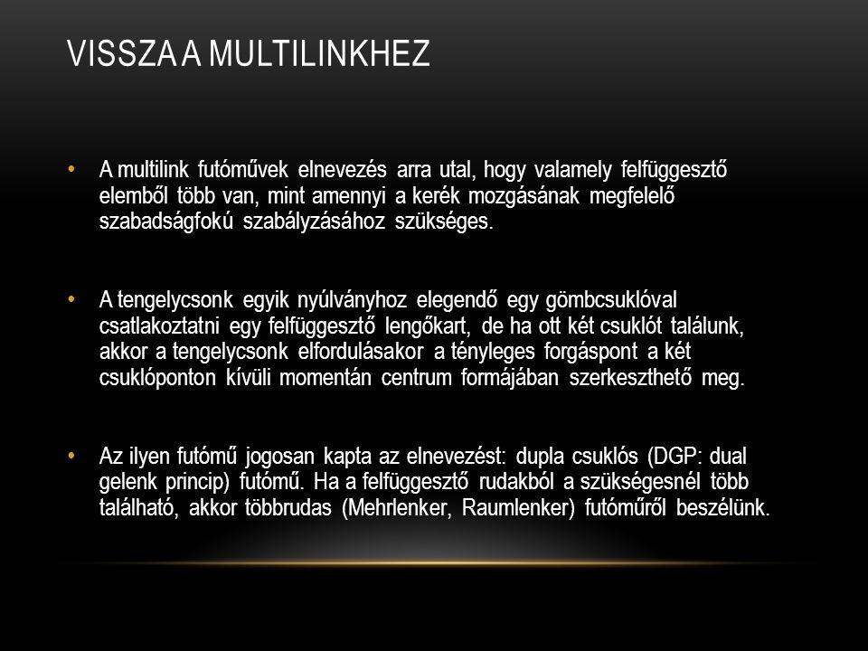 VISSZA A MULTILINKHEZ A multilink futóművek elnevezés arra utal, hogy valamely felfüggesztő elemből több van, mint amennyi a kerék mozgásának megfelelő szabadságfokú szabályzásához szükséges.