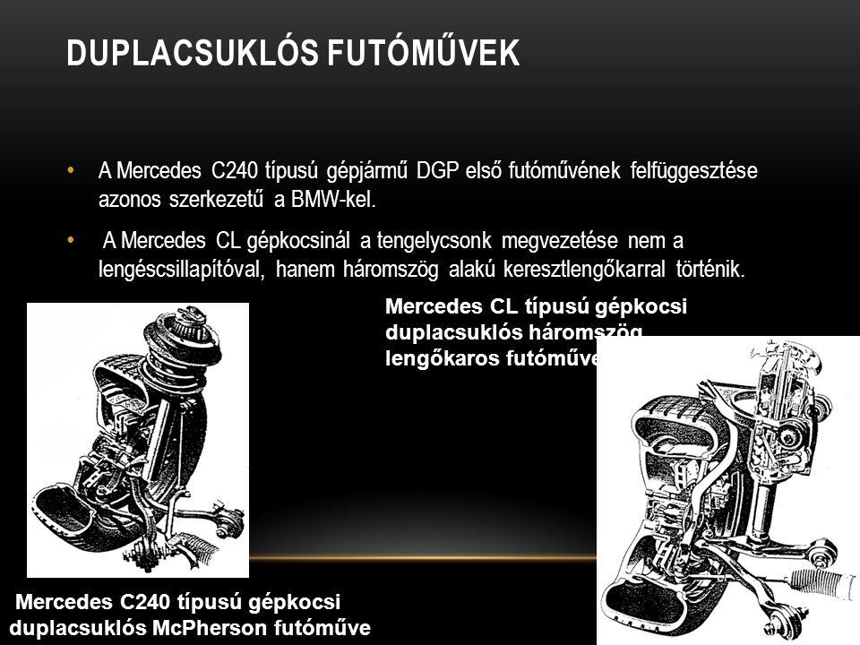 DUPLACSUKLÓS FUTÓMŰVEK A Mercedes C240 típusú gépjármű DGP első futóművének felfüggesztése azonos szerkezetű a BMW-kel.