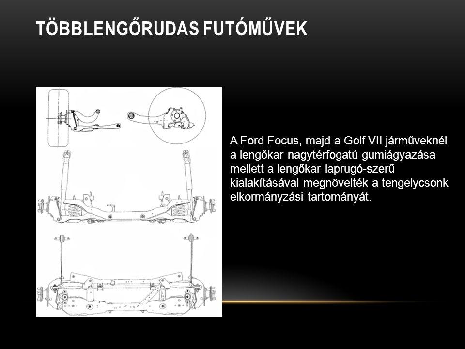 TÖBBLENGŐRUDAS FUTÓMŰVEK A Ford Focus, majd a Golf VII járműveknél a lengőkar nagytérfogatú gumiágyazása mellett a lengőkar laprugó-szerű kialakításával megnövelték a tengelycsonk elkormányzási tartományát.