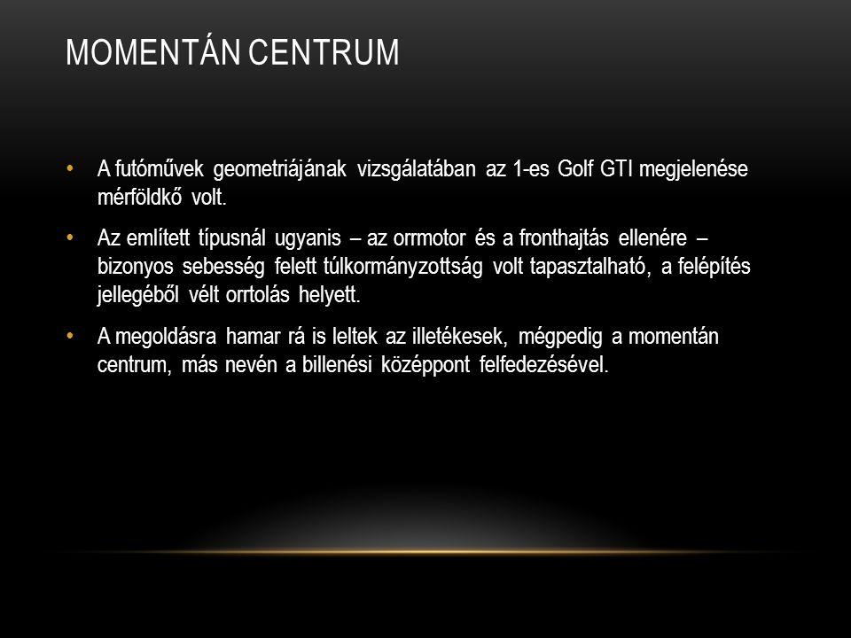 MOMENTÁN CENTRUM A futóművek geometriájának vizsgálatában az 1-es Golf GTI megjelenése mérföldkő volt.