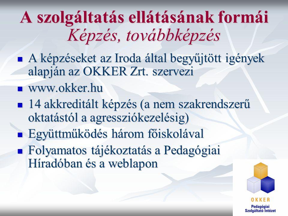 A szolgáltatás ellátásának formái Képzés, továbbképzés A képzéseket az Iroda által begyűjtött igények alapján az OKKER Zrt. szervezi A képzéseket az I