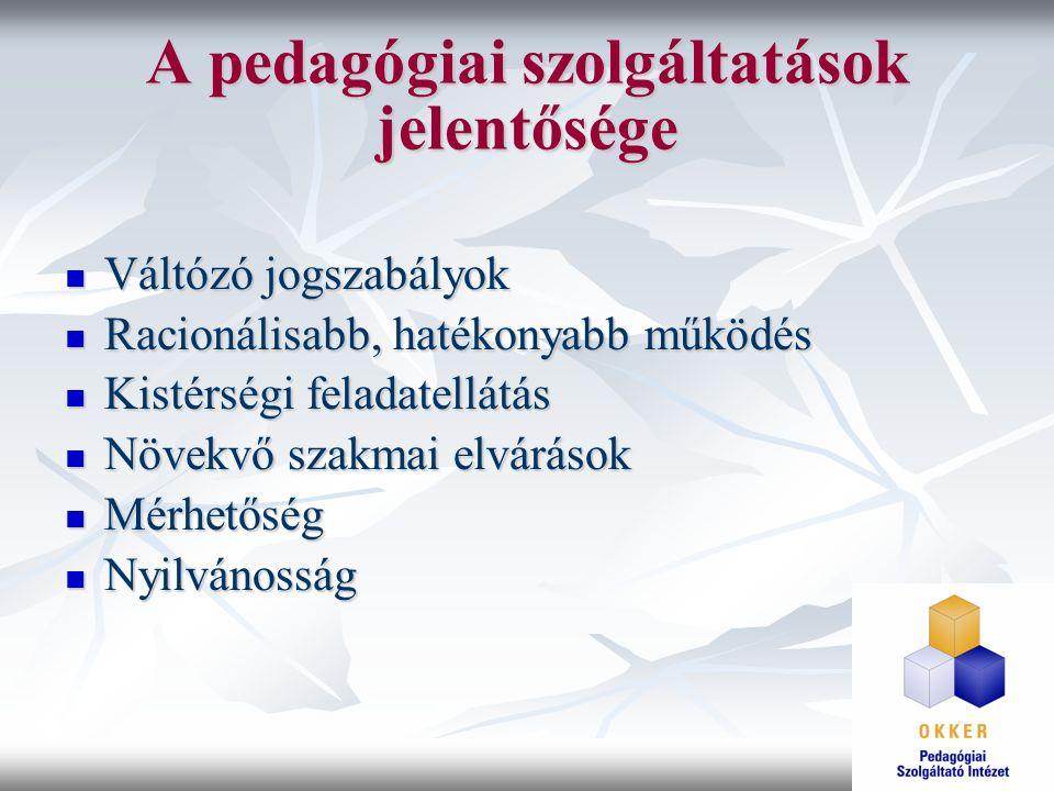 A pedagógiai szolgáltatások jelentősége Váltózó jogszabályok Váltózó jogszabályok Racionálisabb, hatékonyabb működés Racionálisabb, hatékonyabb működé