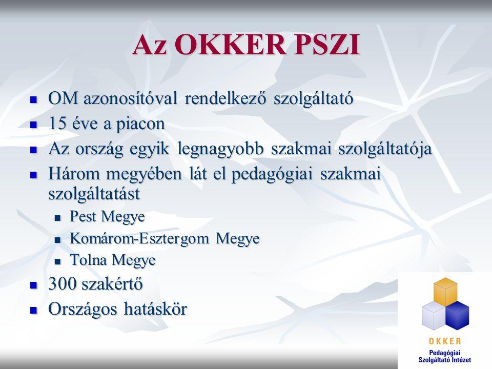 Az OKKER PSZI OM azonosítóval rendelkező szolgáltató OM azonosítóval rendelkező szolgáltató 15 éve a piacon 15 éve a piacon Az ország egyik legnagyobb