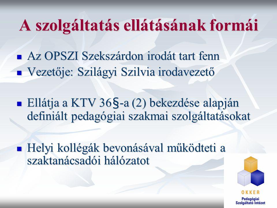 A szolgáltatás ellátásának formái Az OPSZI Szekszárdon irodát tart fenn Az OPSZI Szekszárdon irodát tart fenn Vezetője: Szilágyi Szilvia irodavezető V