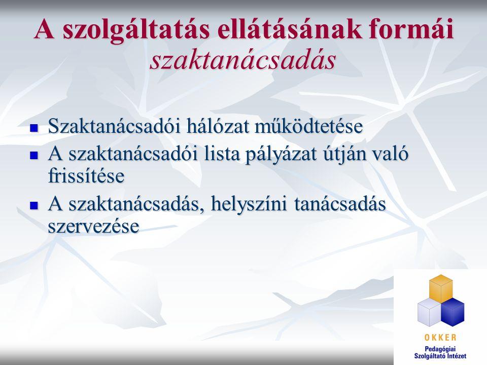 A szolgáltatás ellátásának formái szaktanácsadás Szaktanácsadói hálózat működtetése Szaktanácsadói hálózat működtetése A szaktanácsadói lista pályázat