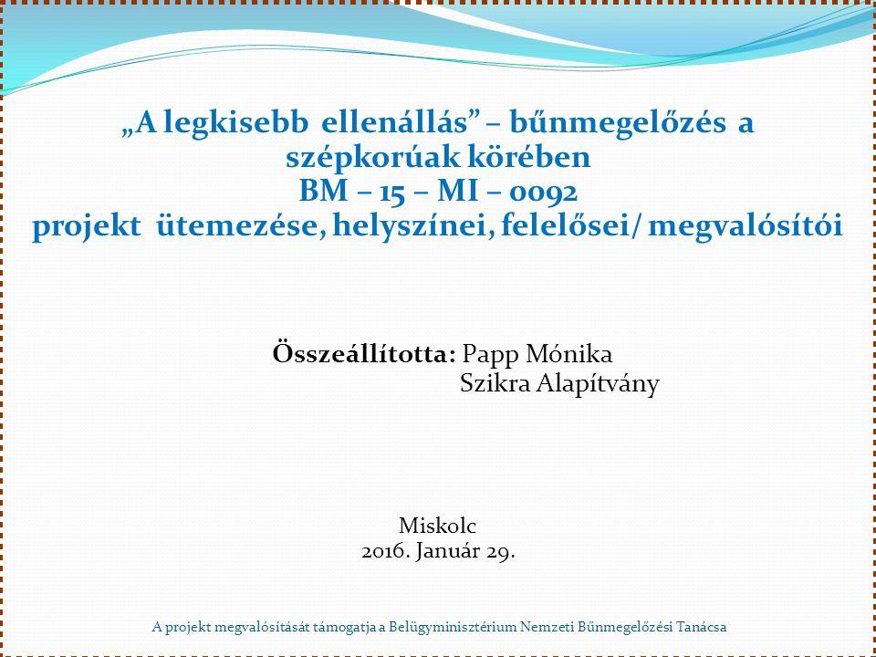 """A projekt megvalósítását támogatja a Belügyminisztérium Nemzeti Bűnmegelőzési Tanácsa """"A legkisebb ellenállás – bűnmegelőzés a szépkorúak körében BM – 15 – MI – 0092 projekt ütemezése, helyszínei, felelősei/ megvalósítói Összeállította: Papp Mónika Szikra Alapítvány Szikra AlapítványMiskolc 2016."""