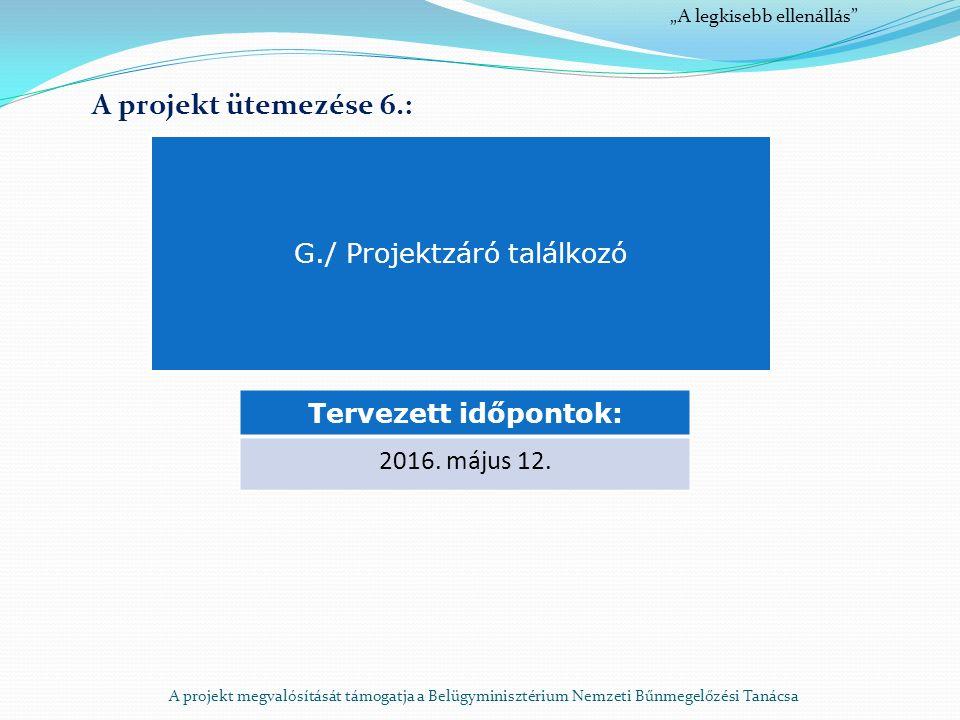 A projekt megvalósítását támogatja a Belügyminisztérium Nemzeti Bűnmegelőzési Tanácsa A projekt ütemezése 6.: G./ Projektzáró találkozó Tervezett időpontok: 2016.