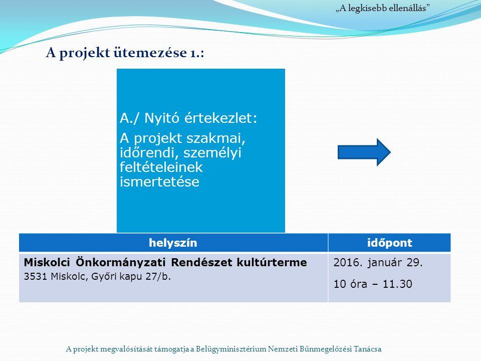 """A projekt megvalósítását támogatja a Belügyminisztérium Nemzeti Bűnmegelőzési Tanácsa """"A legkisebb ellenállás A projekt ütemezése 1.: A./ Nyitó értekezlet: A projekt szakmai, időrendi, személyi feltételeinek ismertetése helyszínidőpont Miskolci Önkormányzati Rendészet kultúrterme 3531 Miskolc, Győri kapu 27/b."""