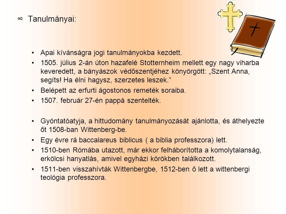 ∞T∞Tanulmányai: Apai kívánságra jogi tanulmányokba kezdett. 1505. július 2-án úton hazafelé Stotternheim mellett egy nagy viharba keveredett, a bányás