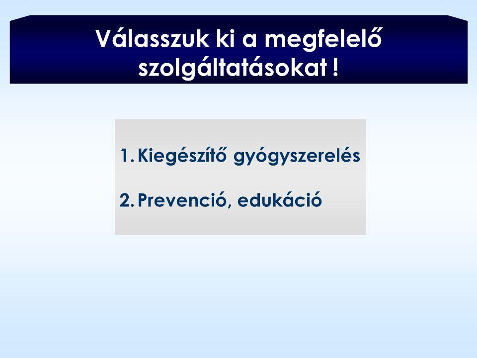 Válasszuk ki a megfelelő szolgáltatásokat ! 1.Kiegészítő gyógyszerelés 2.Prevenció, edukáció