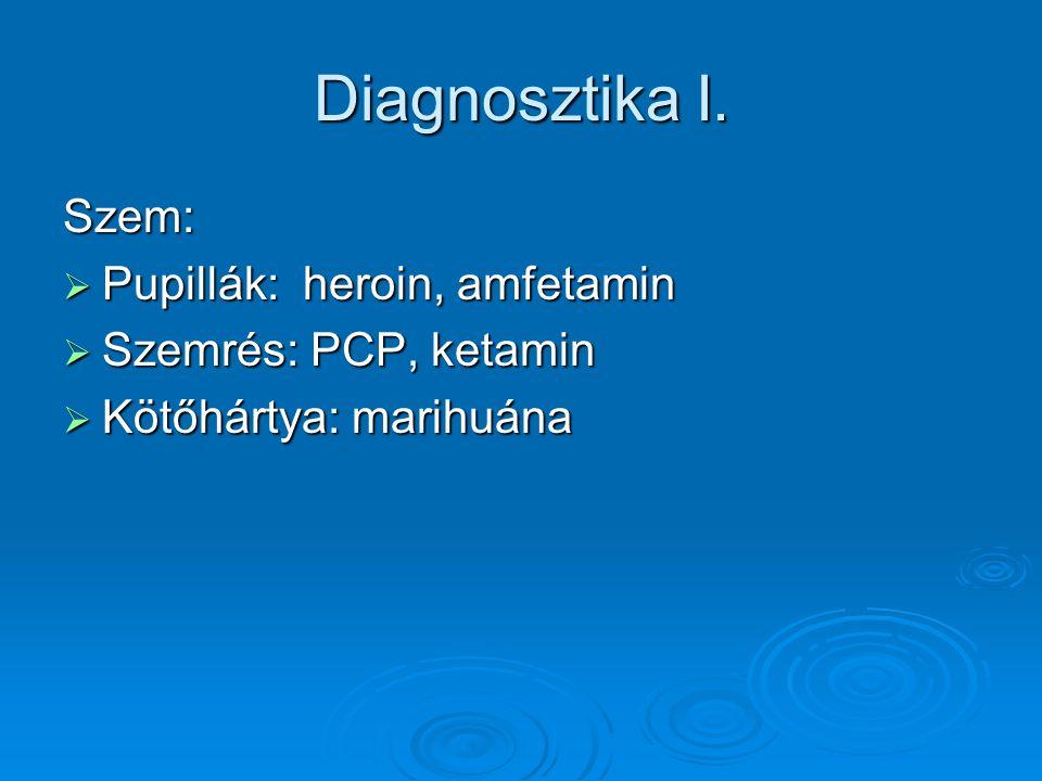Diagnosztika I. Szem:  Pupillák: heroin, amfetamin  Szemrés: PCP, ketamin  Kötőhártya: marihuána