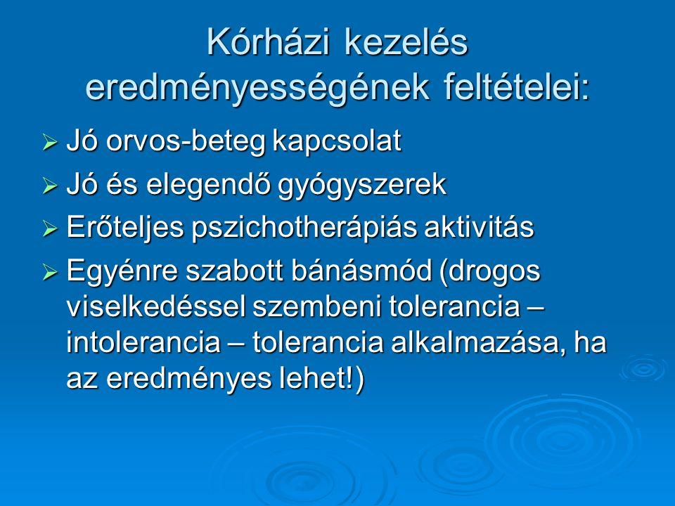 Kórházi kezelés eredményességének feltételei:  Jó orvos-beteg kapcsolat  Jó és elegendő gyógyszerek  Erőteljes pszichotherápiás aktivitás  Egyénre szabott bánásmód (drogos viselkedéssel szembeni tolerancia – intolerancia – tolerancia alkalmazása, ha az eredményes lehet!)